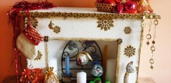 Камин на новый год своими руками из пенопласта
