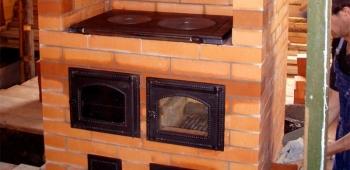 Печь камин с плитой