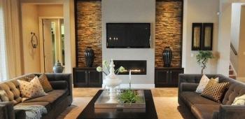 Модерн камины в интерьере гостиной