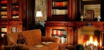 Библиотека с камином